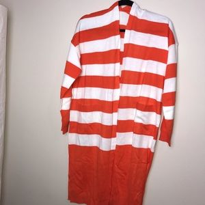 NEW Orange and White Striped Long Sleeve Duster XL